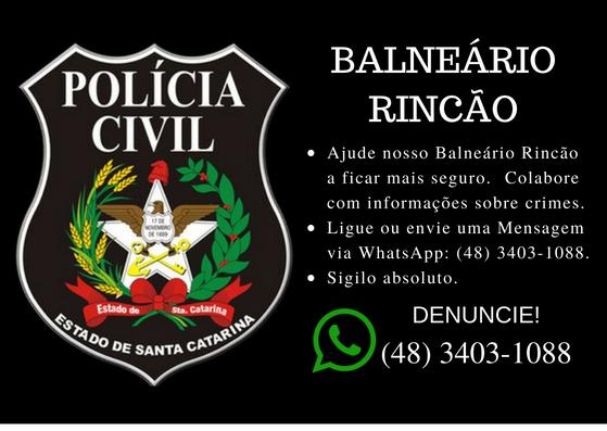 Polícia Civil de Balneário Rincão disponibiliza WhatsApp para denúncias