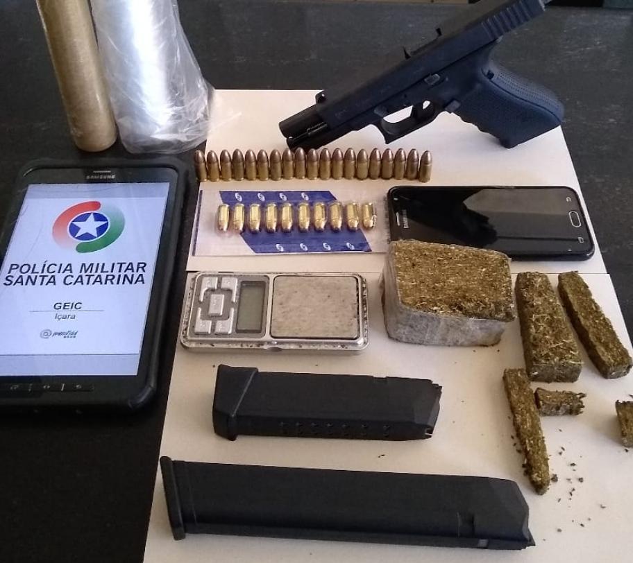 Criminosos são presos e duas pistolas são apreendidas pela PM em Içara e Bal. Rinção