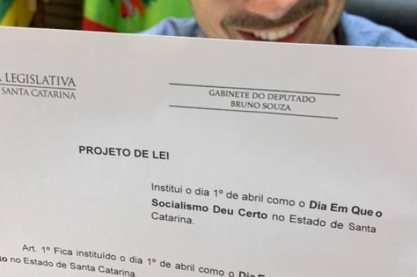 Deputado catarinense faz projeto fake do 1.º de abril, 'o dia em que o socialismo deu certo'
